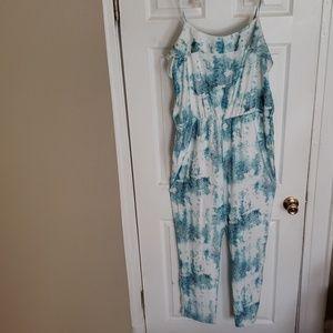 Pants - Women Floral Jumpsuit with Pockets Size XL